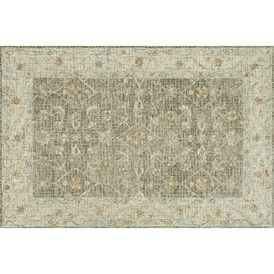 Fitzwater Hand-Hooked Wool Taupe/Sand Area Rug Rug Size: Rectangle 36 x 56