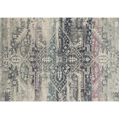 Palmore Beige/Blue Area Rug Rug Size: Rectangle 75 x 105
