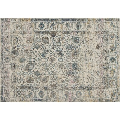 Palmore Ivory/Blue Area Rug Rug Size: Rectangle 75 x 105