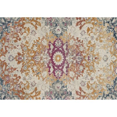 Palmore Ivory/Fiesta Area Rug Rug Size: Rectangle 53 x 77