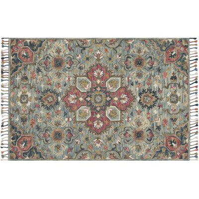 Oneil Hand-Hooked Wool Light Blue Area Rug Rug Size: Rectangle 36 x 56
