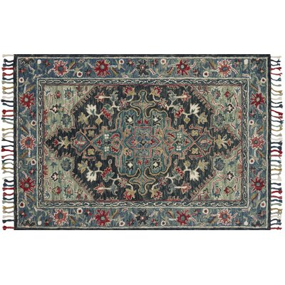 Oneil Hand-Hooked Wool Navy/Blue Area Rug Rug Size: Rectangle 79 x 99