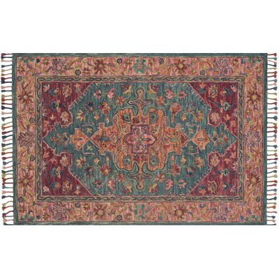 Oneil Hand-Hooked Wool Teal/Berry Area Rug Rug Size: Rectangle 5 x 76