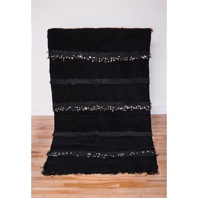 One-of-a-kind Lola Beni Ourain Hand-Woven Wool Black Area Rug