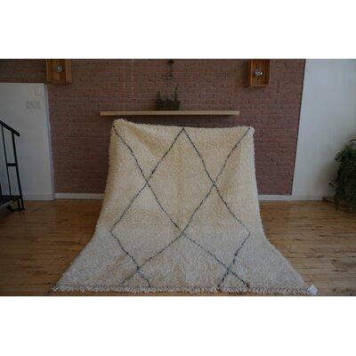 One-of-a-kind Sheli Beni Ourain Hand-Woven Wool Beige/Black Area Rug