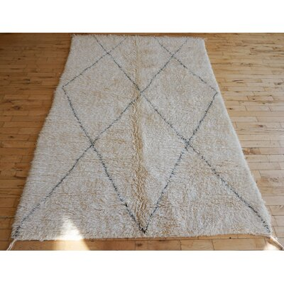 One-of-a-kind Dusk Beni Ourain Hand-Woven Wool Beige/Black Area Rug