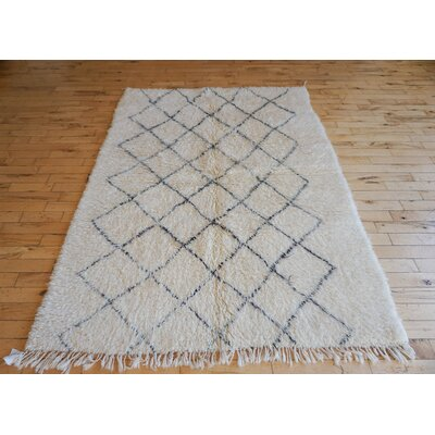One-of-a-kind Crema Beni Ourain Hand-Woven Wool Beige/Black Area Rug