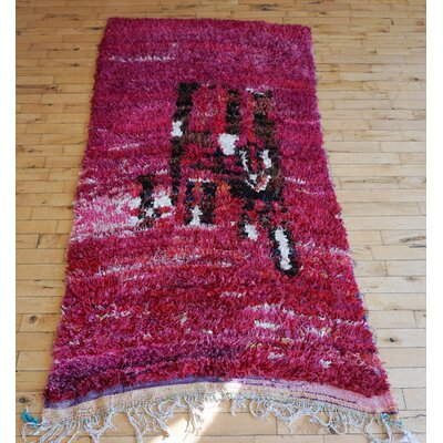 One-of-a-kind Cereza Moroccan Handmade Kilim Fuchsia Area Rug