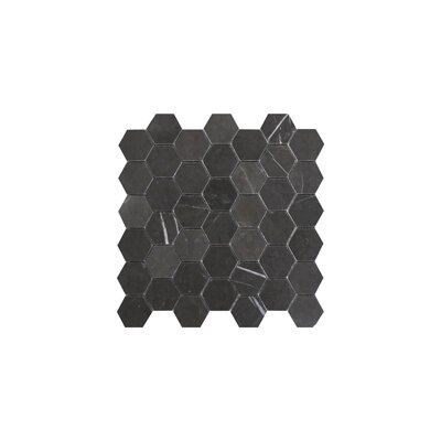 Hexagon 2 x 2 Marble Mosaic Tile in Graphite