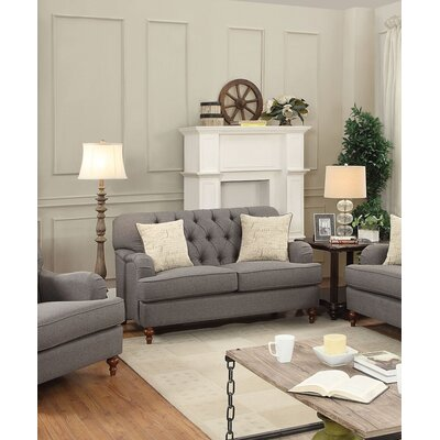 Diep Loveseat with Pillow Upholstery: Dark Gray