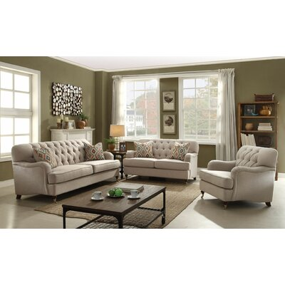 Diep 3 Piece Living Room Set Upholstery: Beige