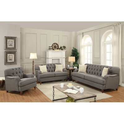 Diep 3 Piece Living Room Set Upholstery: Dark Gray