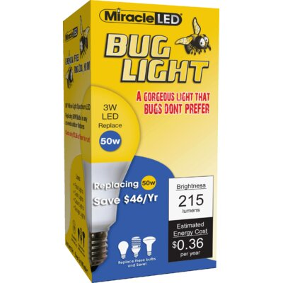 3W Yellow E26/Medium (Standard) LED Light Bulb