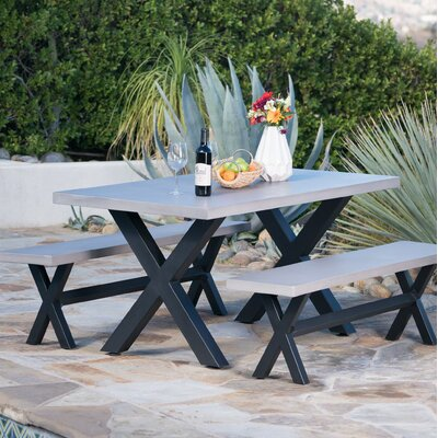 Warlick Outdoor Light Weight Concrete Picnic 3 Piece Dining Set