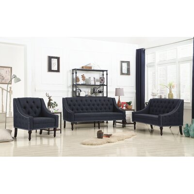 Hunley 3 Piece Living Room Set Upholstery: Charcoal
