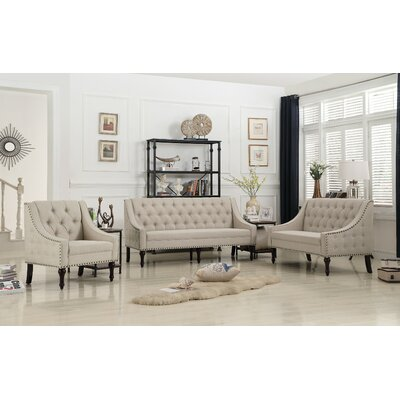 Hunley 3 Piece Living Room Set Upholstery: Warm Beige