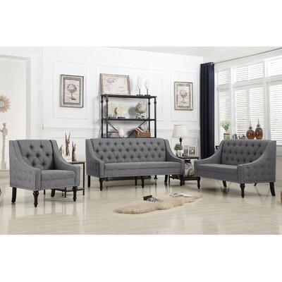 Hunley 3 Piece Living Room Set Upholstery: Smoky Gray