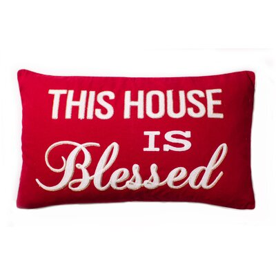 Sutphen This House is Blessed Script Cotton Throw Pillow