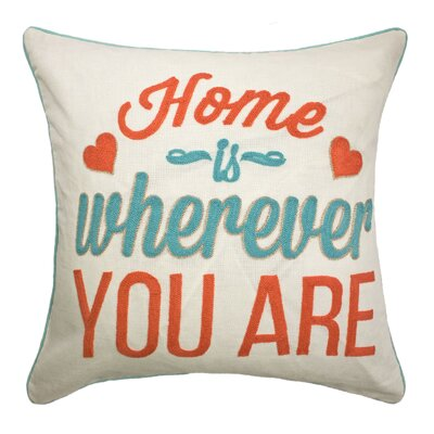 Eriks Home is Wherever Script Cotton Throw Pillow