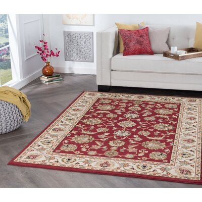 Hoang Red Area Rug Rug Size: Rectangle 5 x 7