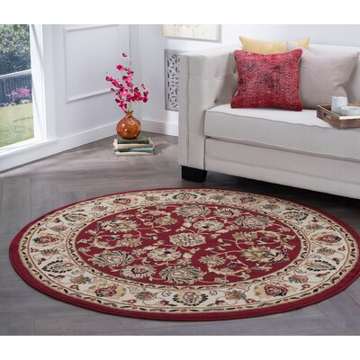 Hoang Red Area Rug Rug Size: Round 8