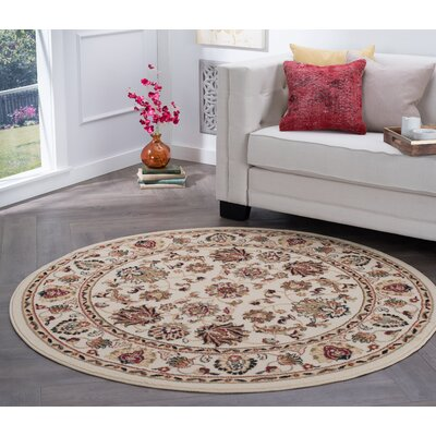 Hoang Ivory Area Rug Rug Size: Round 8