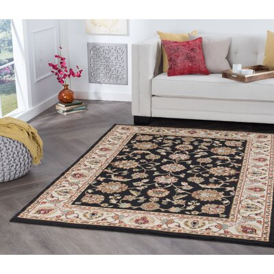 Hoang Black Area Rug Rug Size: Rectangle 4 x 5