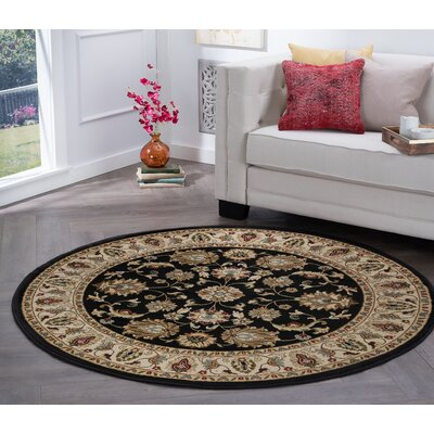 Hoang Black Area Rug Rug Size: Round 5
