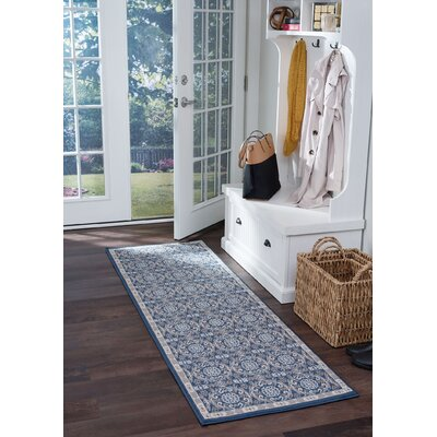 Hoban Traditional Brocade Navy Area Rug Rug Size: Runner 2 x 10
