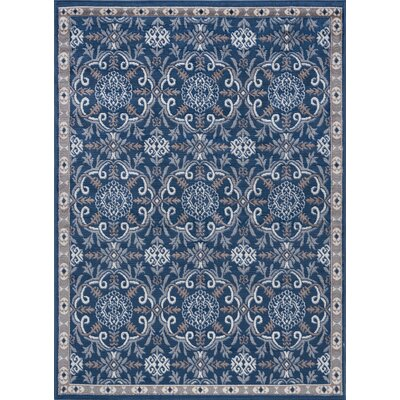 Hoban Traditional Brocade Doormat Color: Navy