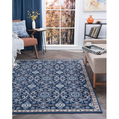 Hoban Traditional Brocade Navy Area Rug Rug Size: Rectangle 4 x 5