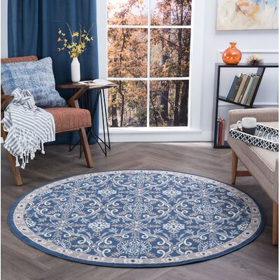 Hoban Traditional Brocade Navy Area Rug Rug Size: Round 8