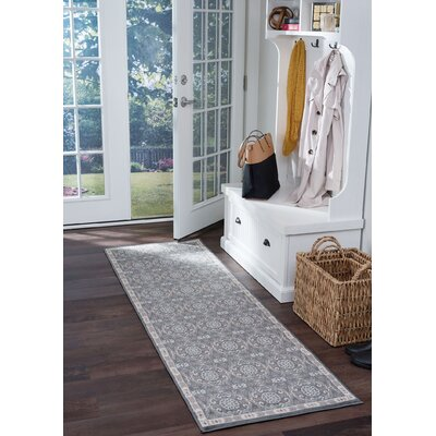 Hoban Traditional Brocade Gray Area Rug Rug Size: Runner 2 x 10