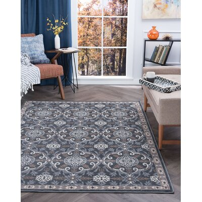 Hoban Traditional Brocade Gray Area Rug Rug Size: Rectangle 9 x 126