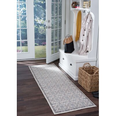 Hoban Traditional Brocade Cream Area Rug Rug Size: Runner 2 x 10