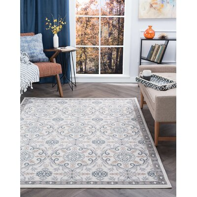 Hoban Traditional Brocade Cream Area Rug Rug Size: Rectangle 5 x 7