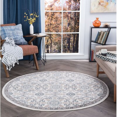 Hoban Traditional Brocade Cream Area Rug Rug Size: Round 5