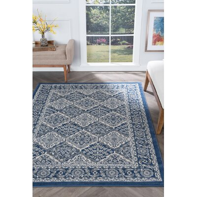 Hobbs Navy Area Rug Rug Size: Rectangle 5 x 7