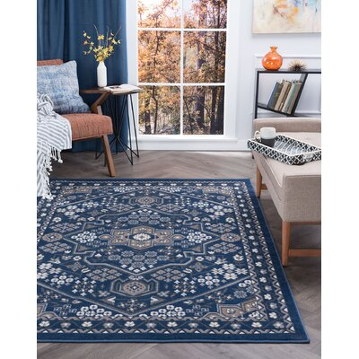 Westerlund Navy Area Rug Rug Size: Rectangle 4 x 5
