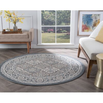 Hobbs Gray Area Rug Rug Size: Round 5