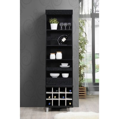Liptak Standing 12 Bottle Floor Wine Rack Finish: Black