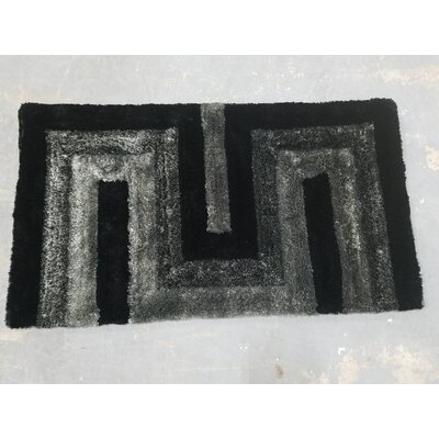 Letson Shaggy Hand-Knotted Gray/Black Area Rug Rug Size: Rectangle 39 W x 55 L