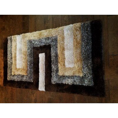 Letson Shaggy Hand-Knotted Beige/Gray Area Rug Size: Rectangle 6 x 8