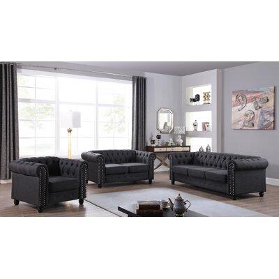 Howington 3 Piece Living Room Set Upholstery: Dark Gray