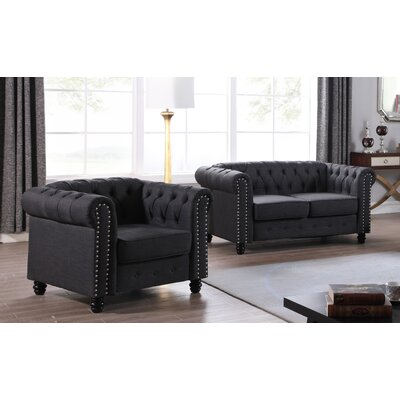 Howington 2 Piece Living Room Set Upholstery: Dark Gray