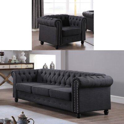 Howington 2 Piece Living Room Set Upholstery: Dark Gray