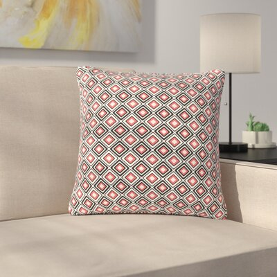 Nandita Singh Bright Squares Pattern Outdoor Throw Pillow Color: Coral, Size: 16