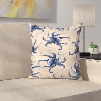 Jetty Printables Nautical Octopus Pattern Throw Pillow Size: 18 x 18