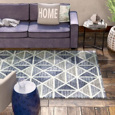 Callista Hand-Tufted Gray/Blue Area Rug Rug Size: Rectangle 76 x 96