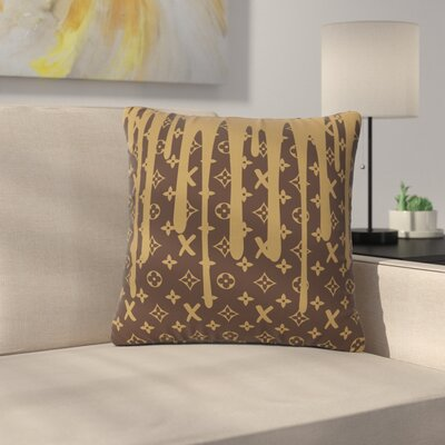 Just L LX Drip Illustration Outdoor Throw Pillow Color: Brown, Size: 18 H x 18 W x 5 D